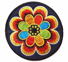 Ecusson Patch thermocollant brodé Fleur multicolore