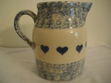 71/2 in. LG BLUE SPONGEWARE W/HEARTS PITCHER ROSEVILLE OHIO FRIENDSHIP POTTERY