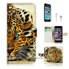 "iPhone 6 Plus (5.5"") Print Flip Wallet Case Cover! Blue Eye Leopard P0354"