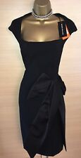 Exquisite Karen Millen Brand New Black Bow Detail Wiggle Dress Uk10