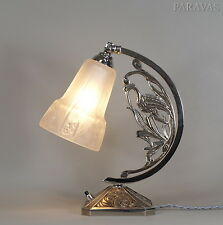 MULLER FRERES : FRENCH 1930 ART DECO LAMP  bird lampe degué era nickel on bronze