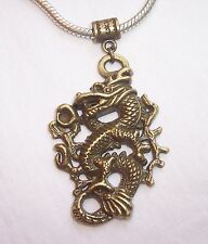 Large Dragon Bronze Fantasy Focal Dangle Bead for European Style Charm Bracelets