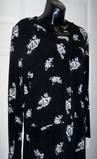 Women's Medium 2 Pcs Black Long Dress Matching Jacket Grey White Flowers Roses