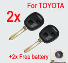 2x KEY Case SHELL 2 BUTTONS for TOYOTA COROLLA RAV4 CAMRY KLUGER UNCUT BLADE