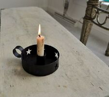 Primitive Country Rustic Black Metal Star Punched Taper/Pillar Candle Holders