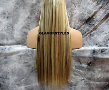 """23"""" BLONDE MIX FLIP IN SECRET CLEAR WIRE HAIR PIECE EXTENSIONS NO CLIP IN/ON"""