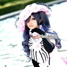 Black Butler Ciel Phantomhive Gray Mixed Blue Anime Cosplay Wig + 2 Ponytails