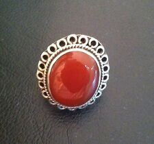 Sterling Silver with Red Stone Estate Jewelry