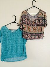 Lot Of 2 Crop Tops Size Large XL Tribal Boho Green Beige Blue Forever 21 Pacsun