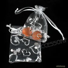 50sets Hotsale Charms White Heart Organza Wedding Favours/XMAS Gift Bag 7x9cm J