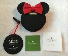 NWT Kate Spade Disney Minnie Mouse Coin Purse Black Leather Gorgeous!
