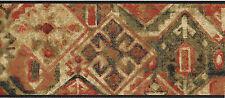 Geometric Southwest Southwestern Orange Green Tan Earth Tones Wallpaper Border
