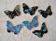 SMALL BUTTERFLIES IN BLUES/ PURPLES/GOLD METALLIC IRON ON APPLIQUES SET/6 #39