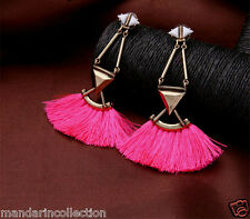 BOHO FRINGE TASSEL DROP EARRINGS* Big Hot Pink tassels earrings