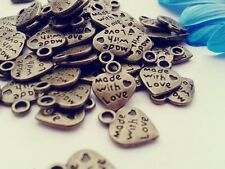 Antique Bronze Made with Love Heart Charms 50pcs Steampunk Pendant Vintage