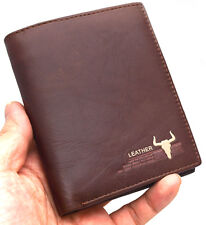 Mens Leather Credit Card Wallet Zippered Pocket Purse Vintage Retro Style 5005A