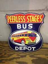 VINTAGE 50'S STYLE PEERLESS BUS DEPOT SIGN AWESOME GRAPHICS GREAT COLOR OAKLAND