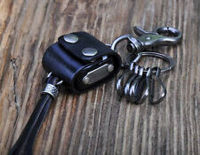 C16 Charm Biker Dices Holder Leather Key Ring Keychain Multi Key Holders Black