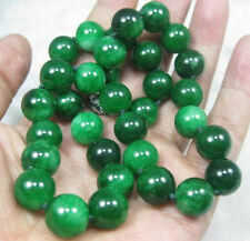 Natural 10mm Round GREEN JADE JADEITE Gemstone NECKLACE 18INCH
