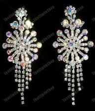 "HUGE CLIP ON 3""long RHINESTONE big AB CRYSTAL diamante BIG CHANDELIER EARRINGS"