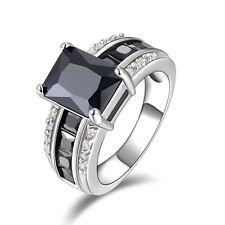 Luxury Black Sapphire 18K Gold Filled Men&Women Nobby Engagement Size 7 Ring