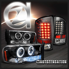 02-05 Dodge Ram Black LED DRL Halo Projector Headlights & LED Tail Lights