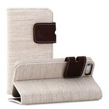 For Apple iPhone 5c Folio Tan Brown Cotton Card Wallet Kickstand Flip Cover Case