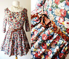 NEW Multi Colored Vintage Floral Print 3/4 Slv Babydoll Long Tunic Top + BELT