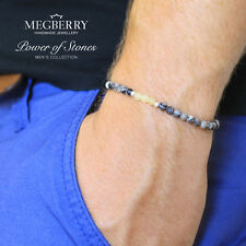 MEGBERRY Mens Black Onyx 925 Sterling Silver Stretch Bracelet Beads UK Seller
