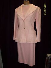 Vintage 1960's Pink Acrylic Knit & White & Pink Skirt Suit by Tami Size Medium
