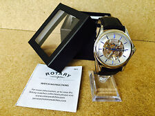 33 Reloj para hombre Rotary Esqueleto Automático Negro Correa de Cuero GS03357/06 a Mano Azul