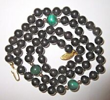Vintage Black Jade & Malachite Beaded Necklace - 24 Inches