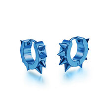 1 Pair Men Women Punk Stainless Steel Hoop Spike Circle Huggie Ear Stud Earrings