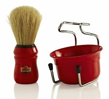 OMEGA BRUSH Co. - SHAVE SET 49.18 (RED) Boar Bristle Brush, Stand & Cup