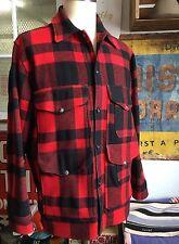 Vintage FILSON Union Made Mackinaw Red & Black Plaid Coat Men's