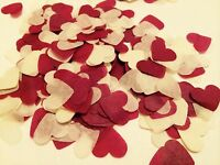 Burgundy & ivory heart wedding confetti - party table decorations -biodegradable