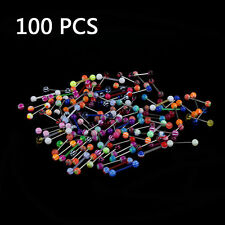 NEW 100pcs Colorful Ball Tongue Nipple Bar Ring Barbell Body Jewelry Piercing