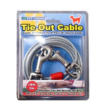 Tie Out Cable Lead Leash Collar 10ft 3m Dog Pet Puppy / Metal Steel Spiral Pole