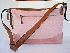 COACH Pink Signature C Jacquard Leather Convertible Tote Purse Bag Large F11395