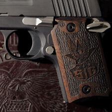 AMERICAN EAGLE Sig Sauer P938 3D engraved pistol gun grips checkered dark walnut