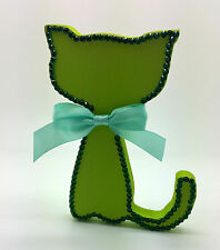 GREEN CAT MDF RHINESTONE ORNAMENT FIGURE CHRISTMAS DECORATION SHABBY CHIC HOME
