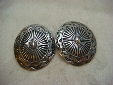 EARRING SET CONCHO STERLING SILVER 925 HIGH RELIEF ARTISAN VINTAGE ANTIQUE