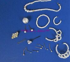 Lot Vintage 1960's Faux Pearl Rhinestone Barbie Doll Jewelry Neclace Earrings