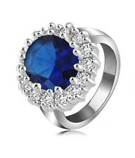 G13 Clear Crystal Blue Glass RING Silver Tone Princess Kate NEW