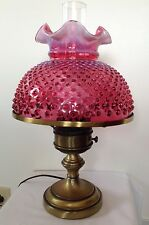 """FENTON ART GLASS CRANBERRY OPALESCENT HOBNAIL TABLE LAMP WITH 10"""" SHADE (T1)"""