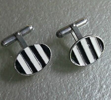 CUFFLINKS MENS SILVER COLOURED METAL BLACK  WHITE STRIPED OVAL HINGED BACK