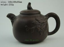 Exquisite Chinese Yixing Hand carving Purple sand teapot NR