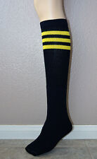 NEW CUTE BLACK KNEE HIGH SOCKS WITH YELLOW STRIPES TOP - AJ's Socks made in USA