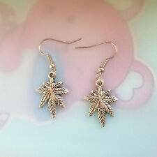 Antique silver tree Leaves Earrings Handmade Jewelry fashion