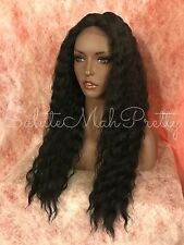 "100% Human Hair Blend Middle Part Wavy Jet Black 22"" Lace Front Wig"